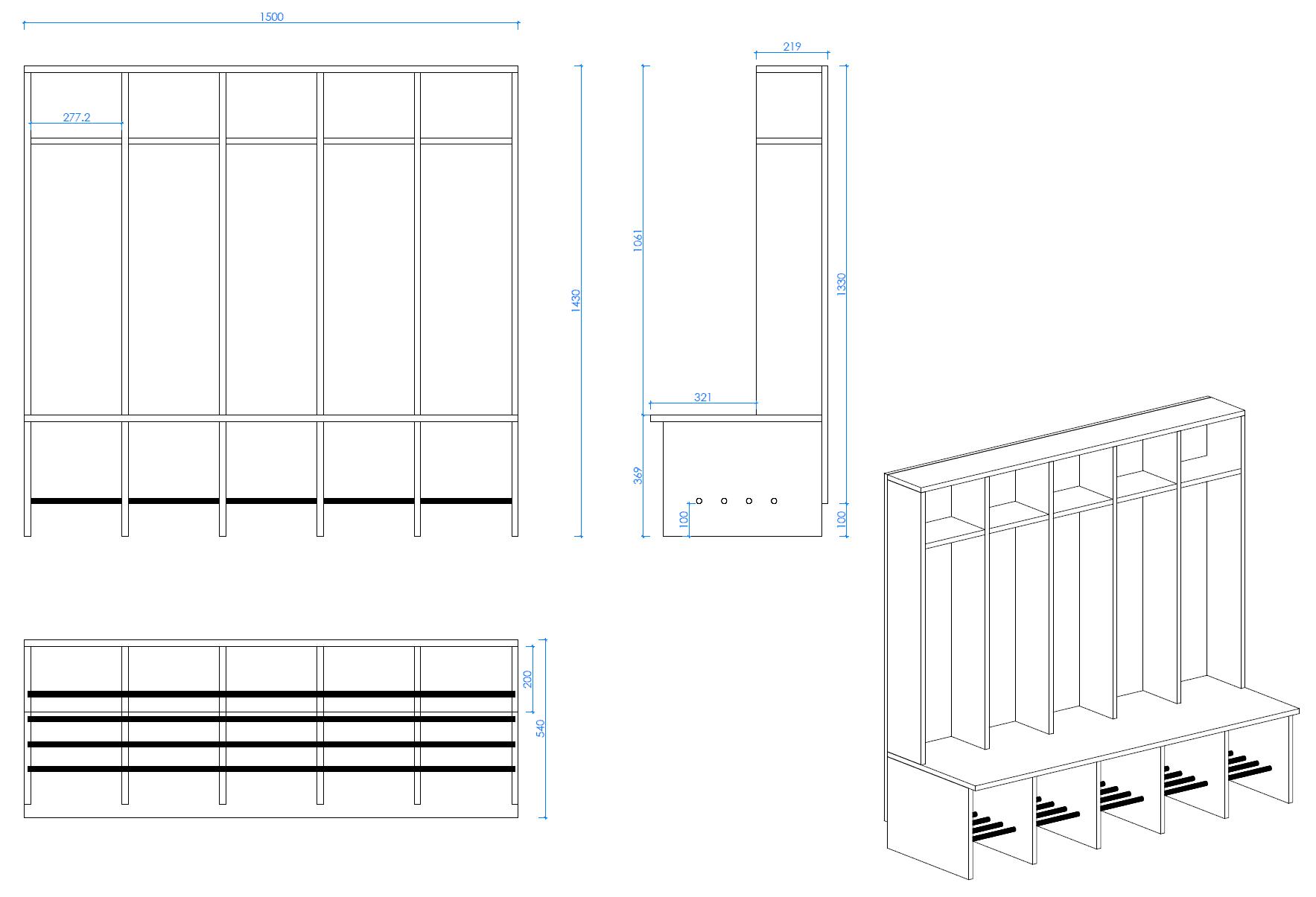 Isenberg Bambini Gaderobe 5fach Zeichnung