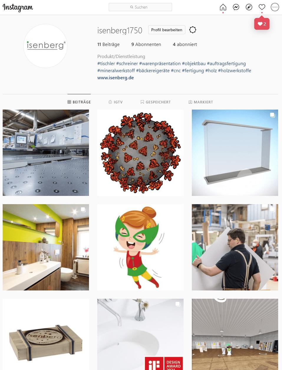 Isenberg Instagram Profil