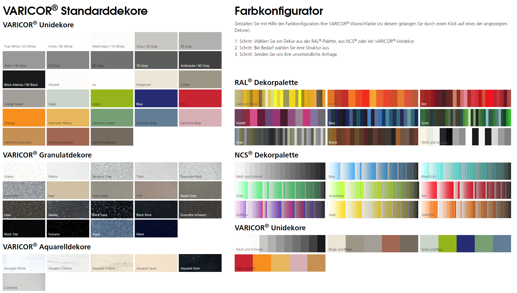 Varicor® Farbkonfigurator (Mineralwerkstoff)